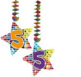 Hangdecoratie Birthday Blocks 5 jaar - 2 stuks