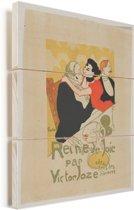 Queen of Joy - Schilderij van Henri de Toulouse-Lautrec Vurenhout met planken 30x40 cm - klein - Foto print op Hout (Wanddecoratie)