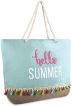 Luna Cove Hello Summer Strandtas Shopper Canvas Jute Aquablauw