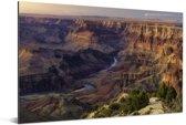 Zonsondergang met uitzicht op de Colorado rivier diep in de Grand Canyon Aluminium 90x60 cm - Foto print op Aluminium (metaal wanddecoratie)