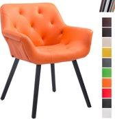 Clp Luxueuze bezoekersstoel CASSIDY club stoel, beklede eetkamerstoel met armleuning, belastbaar tot 150 kg - oranje kleur onderstel : zwart