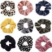 Kraagjeskopen.nl scrunchie - 9 stuks velvet haarwokkel haarelastiek panterprint 1 oudroze blauwgrijs geel grijs groen zwart  stippen roze - OP = OP - scrunchies - voordeelpakket - Turn wokkel
