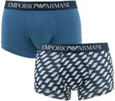 EmporIo Armani - Heren 2-Pack Boxershort Dotted Squares Blauw - L