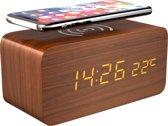 Gadgy Digitale Houten Wekker met Draadloze Oplader / Qi charger  - Alarmklok met Temperatuur, Datum en Tijd