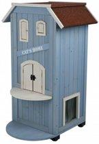 Trixie kattenhuis cat's home 3 verdiepingen licht blauw / wit 56x59x94 cm