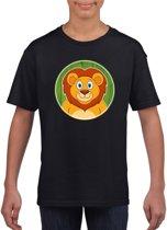 Kinder t-shirt zwart met vrolijke leeuw print - leeuwen shirt M (134-140)