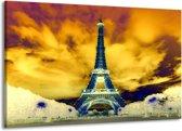 Canvas schilderij Eiffeltoren | Blauw, Geel, Grijs | 140x90cm 1Luik