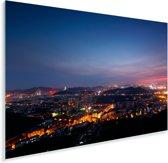 Luchtfoto van de Chinese stad Jinan in de nacht Plexiglas 90x60 cm - Foto print op Glas (Plexiglas wanddecoratie)