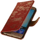 Samsung Galaxy S6 G920F Rood | Lace bookstyle / book case/ wallet case Hoes  | WN™