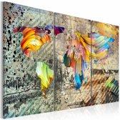 Schilderij - Wereldkaart - Wereld vol Kleur, Multi-gekleurd, 3luik