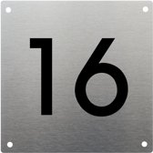 RVS huisnummer 15x15cm nummer 16