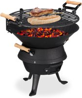 relaxdays Houtskoolbarbecue - kolenbarbecue - bbq - camping barbecue - gietijzer - zwart