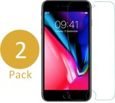 2x Screenprotector Geschikt voor Apple iPhone 8 Plus - Screen Protector Gehard Glass Transparant  / Tempered Glass Screenprotector 2,5D 9H