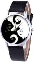 Horloge katten Ying Yang -  zwart wit