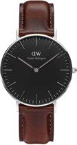 Daniel Wellington DW00100143 Classic Black Bristol - Horloge - Leer - Bruin - 36 mm