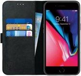 Rosso Deluxe Apple iPhone 7 Plus / iPhone 8 Plus Hoesje Echt Leer Book Case Zwart | Ruimte voor drie pasjes | Opbergvakje voor briefgeld | Handige stand functie | Magneetsluiting