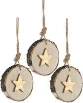 Kerstboomhanger Ster op schijf Gold (6 cm) 3 Stuks