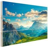 Zonsondergang in de Alpen Hout 80x60 cm - Foto print op Hout (Wanddecoratie)