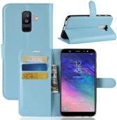 Book Case Hoesje Samsung Galaxy A6 Plus (2018) - Lichtblauw