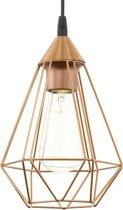 EGLO Vintage Tarbes - Hanglamp/Draadlamp - 1 Lichts - Ø170mm. - Koperkleurig