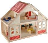 Houten poppenhuis inclusief 25 meubeltjes