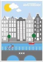 Poster Amsterdam grachten DesignClaud - Kleurrijk - A3 poster