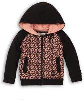 Dirkje Meisjes Vest - Black + grey + pink - Maat 86