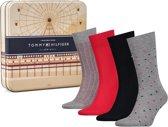 Tommy Hilfiger Sokken Giftbox - 4-Pack - Grijs/Rood/Zwart - Maat 39-42