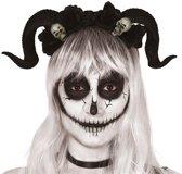 Diadeem/tiara met zwarte hoorns en doodshoofden - Duivelshoorns - Halloween verkleedaccessoires