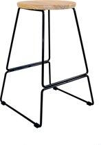 Legend Caden - Metalen barkruk - Met houten zitting - Midden 66 cm - Zwart