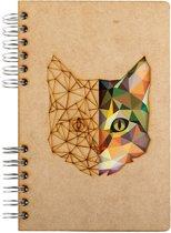 Houten notitieboek – A6 – Gelinieerd – Kat