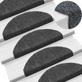 Trapmat trappenmat set trapmatten trapbekleding mat voor trap donker grijs set 15 65x21x4cm