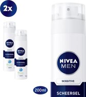 NIVEA MEN Sensitive Scheergel- 2 x 200 ml - voordeelverpakking