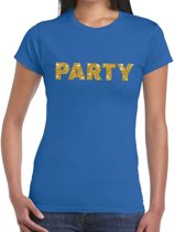 Party goud glitter tekst t-shirt blauw dames M