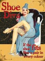 Mini muurplaatje Shoe Diva 15x20cm