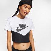 Nike Nsw Heritage Ss T-shirt Dames - Black/White/(Black) - Maat M