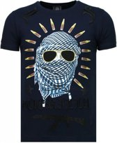 Local Fanatic Freedom Fighter - Rhinestone T-shirt - Blauw - Maten: XL