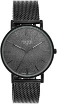 Regal - Regal mesh horloge glitter zwart