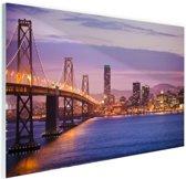 Avondlicht San Francisco Glas 60x40 cm - Foto print op Glas (Plexiglas wanddecoratie)