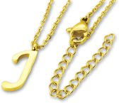 Amanto Ketting J Gold - Unisex - 316L Staal Goudkleurig PVD - Letter - 18 x 6 - 50 cm