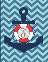 F: Monogram Initial F Notebook - 8.5'' x 11'' - 100 pages, college ruled - Nautical Chevron Anchor Journal