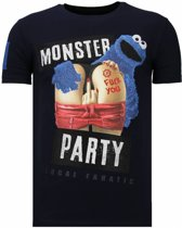 Local Fanatic Monster Party - Rhinestone T-shirt - Navy - Maten: L