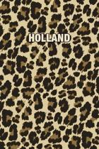 Holland: Personalized Notebook - Leopard Print (Animal Pattern). Blank College Ruled (Lined) Journal for Notes, Journaling, Dia