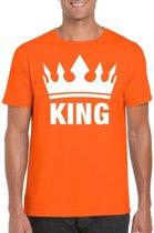 Oranje Koningsdag King shirt met kroon heren - Oranje Koningsdag kleding. S