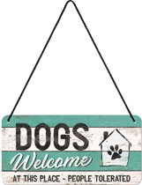 Nostalgic Art Metalen Bord Hanging Dogs Welcome