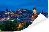 Het kasteel van Edinburgh in Schotland met een gedeelte van de stad Poster 120x80 cm - Foto print op Poster (wanddecoratie woonkamer / slaapkamer) / Europese steden Poster