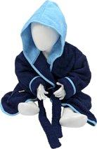 ARTG Babiezz® Baby Badjas met Capuchon Donkerblauw - Zeeblauw  - Maat  80-92