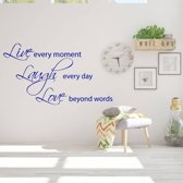 Muursticker Live Laugh Love -  Donkerblauw -  120 x 67 cm  - Muursticker4Sale
