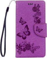 Voor Sony Xperia XZ Power Vlinders Embossing horizontaal Flip lederen hoesje met houder & opbergruimte voor pinpassen & portemonnee & Lanyard(paars)