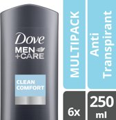 Dove Men + Care Clean Comfort - 250 ml - Douche Gel - 6 stuks - Voordeelverpakking
